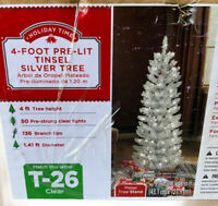 Holiday Time 4 FOOT PRE-LIT TINSEL  Silver TREE Christmas