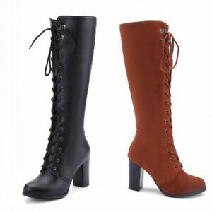 3 Colors Women Classic Comfort Block Heel Knee High Riding Knight Boots Warm D