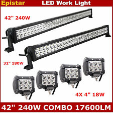 "42"" 240W+32"" 180W Combo LED Light Bar+ 4X 4"" 18W Spot Pod Light SUV JEEP 12V 24V"