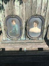 2 Early 1900s Bubble Dome Glass Convex Picture Photo Ornate Gesso Frame Antique