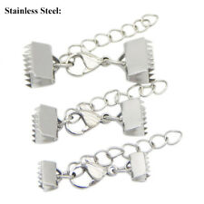 Stainless Steel Silver Set Ribbon Clamp Crimp End Lobster Clasp Extension Chain