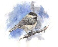 Watercolor Bird Print, Chickadee, bird print, blue bird, water color painting