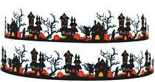 "Grosgrain Ribbon 7/8"" & 1.5"" Spooky Halloween Haunted House Pumpkin Printed."