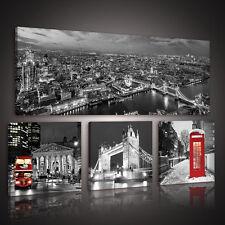 SET (4 teilig)  Leinwandbild Wandbild Foto STADT LONDON ROT BUS 10277 S15