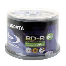 300 Ritek Ridata 6X 25GB BD-R White Inkjet HUB Printable Blu-ray Blank Disc