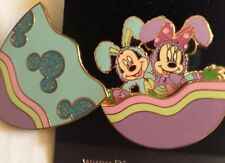 Disney Easter Egg Bunny Rabbits 2006 Mickey & Minnie Mouse Glitter Pin