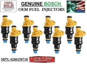 x8 Fuel Injectors {0280150718} Bosch / Ford E-150 Econoline Club Wagon 5-5.8L V8