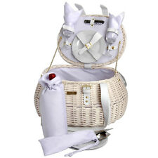 Picnic & Beyond Wicker Wedding Picnic Basket for 2 PB1-3753 17pcs White Color