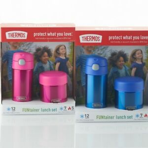 New Thermos FUNtainer Kids Bottle & Food Jar Lunch Set Vacuum Insulated Pink New