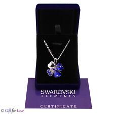 Collana donna argento Swarovski Elements originale G4Love cristalli quadrifoglio
