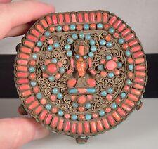 Vintage Turquoise Coral & Brass BUDDHA Box - Nepal/Tibet