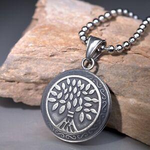 Gunmetal grey keepsake openable tree pendant silver stainless steel necklace