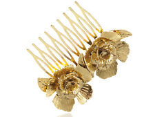 Golden Tone Metal Two Petalled Rose Small Vogue Hair Comb Wedding