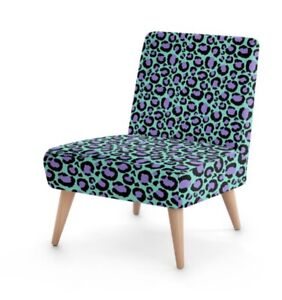 Aqua & Lilac Leopard Print Unique Designer Occasional Chair, Nursery Living Room