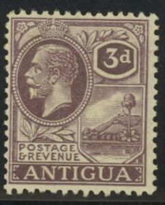 Antigua George V 3d purple & yellow stamp (SG55) dated 1921-29 mint