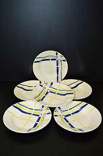 6 ASSIETTES DEMI CREUSES  CERAMIQUE ART DECO 40/50 Jaune Bleu  BORELY POMONE N5
