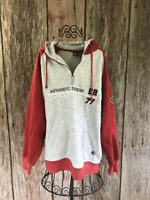 Bugle Boy Vintage Fleece 1/4 Zip Pullover Mens Sz L Gray/Red Kangaroo Pouch