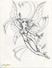 WICCAN FAIRY ELF WINGS FLYING ARTISTIC NUDE WOMAN HAND SIGNED FANTASY ART PRINT