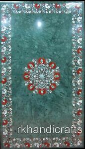 30 x 48 Inches Marble Reception Table Top with Peitra Dura Art Dining table top