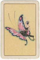 Playing Cards Single Card Old Vintage FLAPPER GIRL Lady BUTTERFLY Art Picture 1