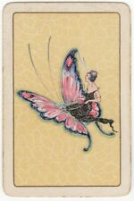 Playing Cards 1 Single Swap Card - Old Vintage FLAPPER GIRL Lady + BUTTERFLY 1