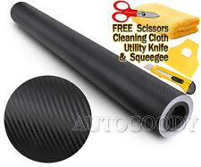 """120"""" x 60"""" Black Carbon Fiber Vinyl Wrap 3D Bubble Free Air Release 10ft x 5ft"""