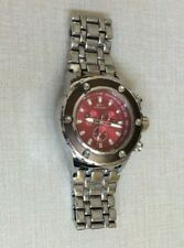 Tecno Sport Oversize Silver Mens Watch Round Red Dial on Silver Linked Band New!