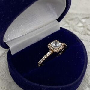 PANDORA Sparkly Square Ring Size K.5 ALE MET 52 Gold Tone Bent-See Listing