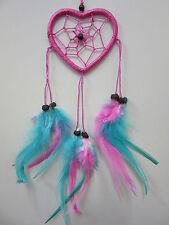 Heart 2 Tone Pink/Blue 6cm Web Coconut Bead Dream Catcher 33cm Total Length