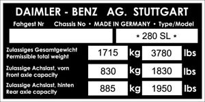 MERCEDES 280 SL VIN CHASSIS PLATE CLASSIC CAR BARN FIND STAMPED FOR YOU ~1
