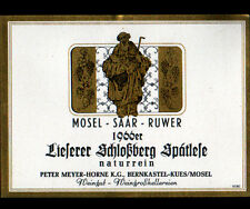 "ETIQUETTE ANCIENNE de VIN ""LIESERER SCHLOSSBERG"" de BERNKASTEL ALLEMAGNE en 1966"