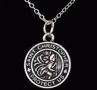 "16"" to 24"" Silver Plated Vintage St Saint Christopher Pendant Necklace Men Chain"