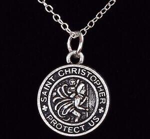 "16"" - 24"" Silver Plated St Christopher Pendant Women Necklace Men Chain 40-60 cm"