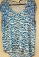 Anthropologie Akemi + Kin Women's Blue Scoop Neck Top Hi-Low Blouse Large