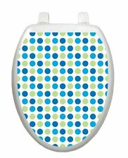 Toilet  Tattoos® Dot to Dot Blues Vinyl Lid Cover Reusable Bathroom  Decoration