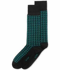 Alfani Mens Box Grid Midweight Socks, Black, 10-13