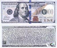 Lot of 25 Franklin Blue Million Dollar Bill Fake Funny Money Gospel Tract Notes