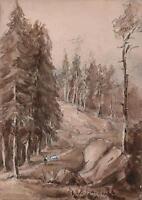 FIGURE & GOAT IN SCOTTISH LANDSCAPE Victorian Painting C LOUISA MACKAY c1870