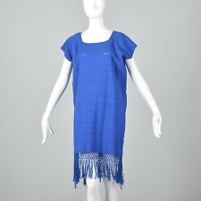80s Blue Beach Coverup Poncho Resort Summer Vacation Cotton Fringe Light Vtg