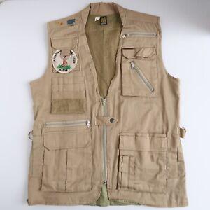 Vintage Colpro Aberdare Club Safari Hunters Vest Size Medium Patches Pins Kenya