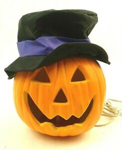 Halloween Plug in Light Up Pumpkin With Black Hat Purple Ribbon