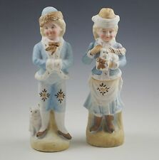 ANTIQUE VICTORIAN GIRL AND BOY WITH DOGS BISQUE FIGURINES, PAIR -HEUBACH?