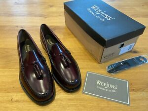 G H Bass Weejuns Larkin Tassel Loafers Wine Leather Burgundy New & Boxed RRP£140