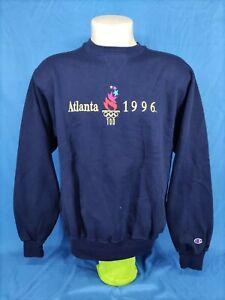 Vintage Champion Sweatshirt Atlanta 1996 Olympics Games,Color:Navy Blue,Size:L