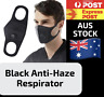 BLACK REUSABLE FACE MASK AUS STOCK - ANTI-HAZE RESPIRATOR DURABLE WASHABLE