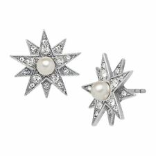 Van Kempen Victorian Simulated Pearl Star Earrings w Swarovski Crystals, Silver