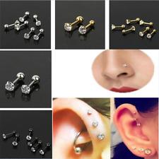 2Pcs 16G CZ Gem Round Steel Barbell Tragus Cartilage Helix Stud Earring Piercing