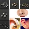 Pair Steel Zircon Barbell Ear Cartilage Helix Tragus Stud Earring Bar Piercing