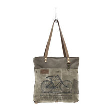 Bicycle Canvas Tote Bag Army Green Stenciled Bicycle Front Pocket Zips Closed