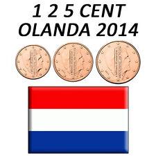 1 + 2 + 5 CENT 2014 OLANDA HOLLAND HOLANDA HOLLANDE - FDC UNC DA ROTOLINO